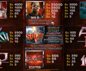 Игровой автомат Блэйд в казино Вулкан при игре на деньги